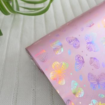 Кожзам блестящие бабочки розовый