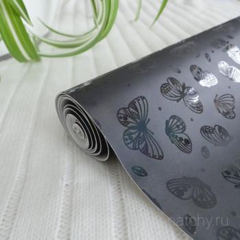 Кожзам блестящие бабочки черный