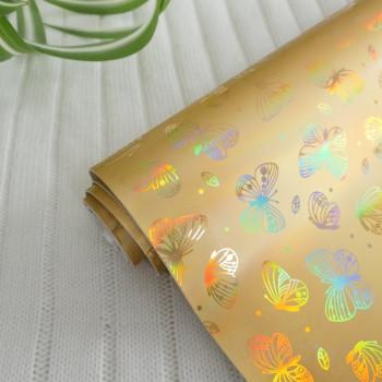 Кожзам блестящие бабочки золотой
