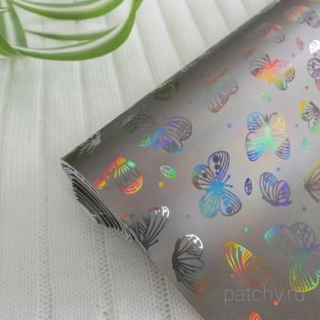 Кожзам блестящие бабочки графит