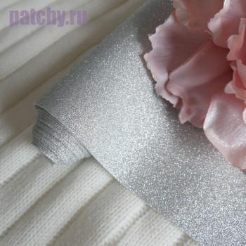 Глиттерная ткань серебро