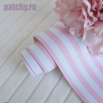 Кожзам розово-белая полоска