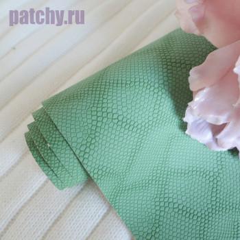 Кожзам зеленая чешуя soft touch
