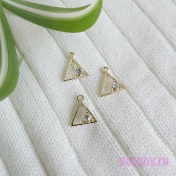Подвеска треугольник с алмазом золото