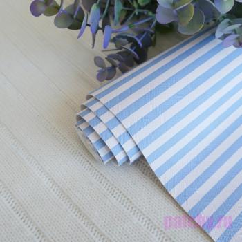 Кожзам в полоску 0,7 см голубо-белый 0,7см