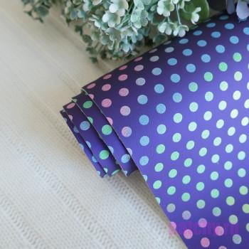 Кожзам разноцветный горошек на фиолетовом 27*140см