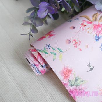 Кожзам цветы и птицы на розовом