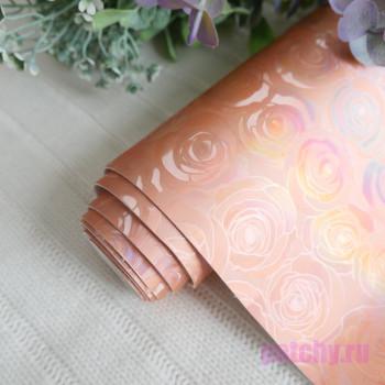 Кожзам блестящие розочки персиковые 24*140см