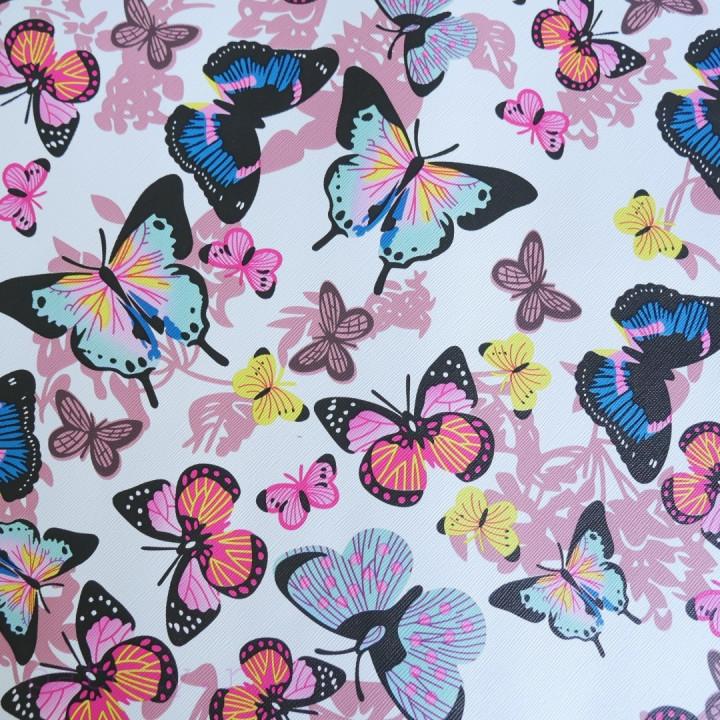 Кожзам разноцветные бабочки на белом