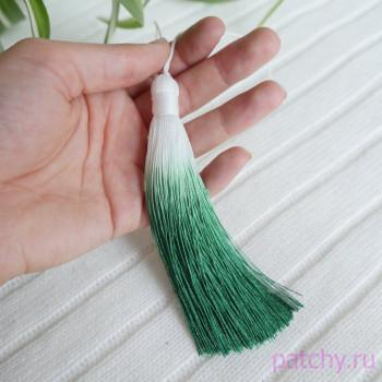 Шелковая кисточка градиент Бело-зеленый