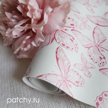 Кожзам розовые бабочки на белом