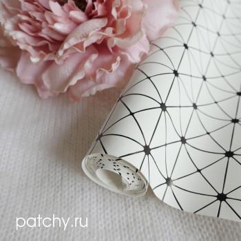 Кожзам геометрия белый