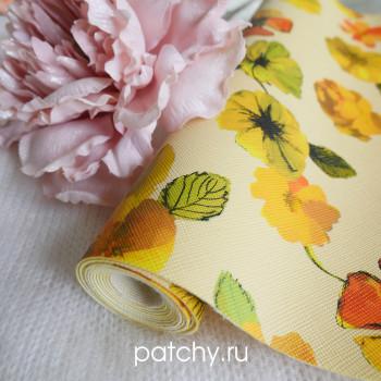 Кожзам цветы на желтом
