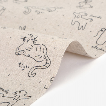Ткань лен 554 Doodling doodling (Лён)