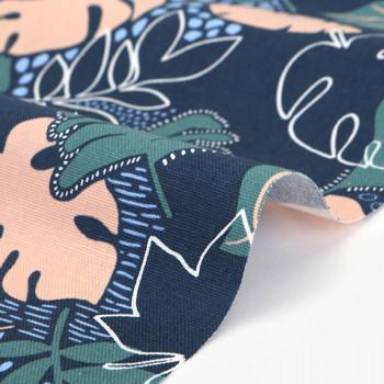 Ткань оксфорд 557 Midnight tropical  leaf