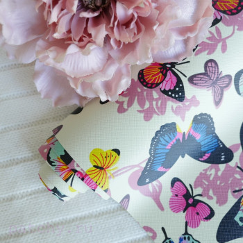 Кожзам разноцветные бабочки на желтом