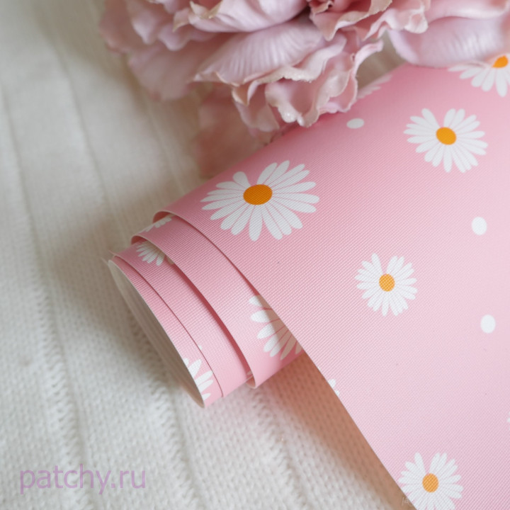 Кожзам ромашки на розовом