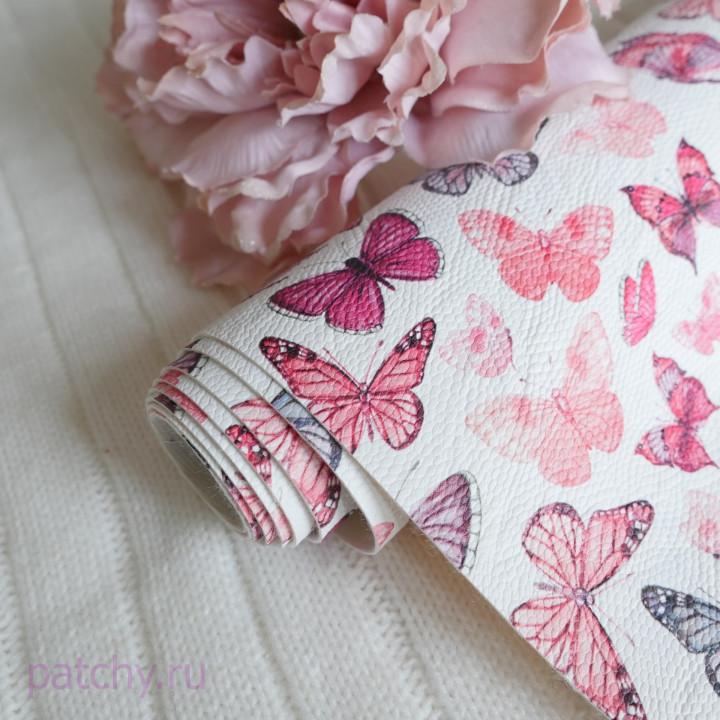 Кожзам бабочки розовые
