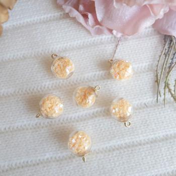 Подвеска  стеклянный шар персиковые звезды